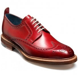 Mens Bailey Red Brogue Lace-Up Shoes