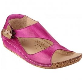 Womens Cartier Fuchsia Elasticated Bow With Button Detail Sandals