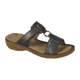 Womens New York Grey Velcro Mules 62854-45