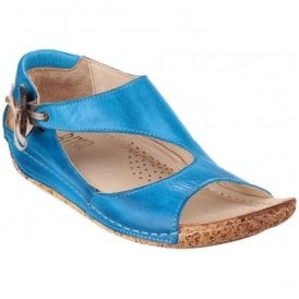 Womens Cartier Electric Blue Elasticated Bow With Button Detail Sandals
