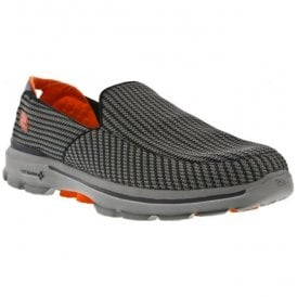 Mens Go Walk 3 Charcoal/Orange Walking Shoes 53980