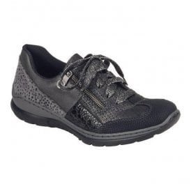 Womens Wildebuk Black Lace Up Trainers L3223-00