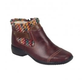Bogota Burgundy Zip Ankle Boots L3884-35