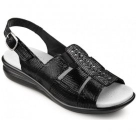 Womens Candice Black Snake Leather Slingback Sandals