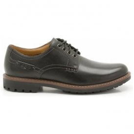Mens Montacute Hall Black Leather Derby Shoes