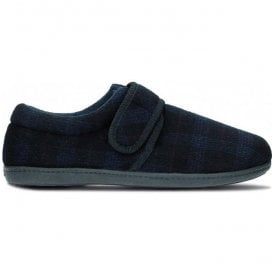 Mens King Strap Navy Check Fabric Slippers