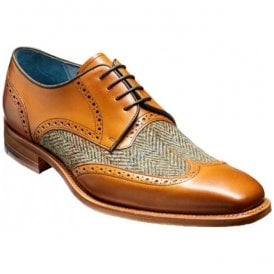 Mens Jackson Cedar Calf Brogue Tie Shoes With Green Tweed