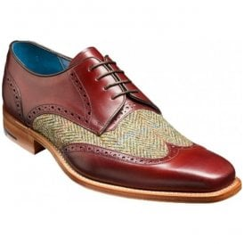 Mens Jackson Cherry Calf Brogue Tie Shoes With Green Tweed