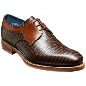 Mens Benedict Brown Croc/Calf Lace-Up Shoes