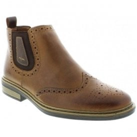 Brown Slip-On Brogue Chelsea Boots 37681-25