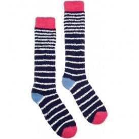 Fab Fluffy French Navy Long Socks