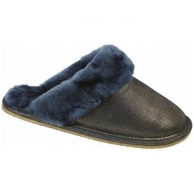 Womens Lilly Navy Sparkle Mule Type Slippers