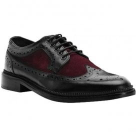 Mens Pendle Burgundy/Black Derby Brogue Shoes