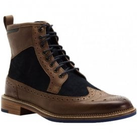 Mens Pendleton Navy/Brown Derby Brogue Boots