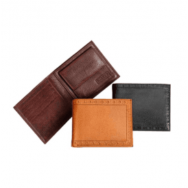 Grain Leather Brogue Coin Wallet
