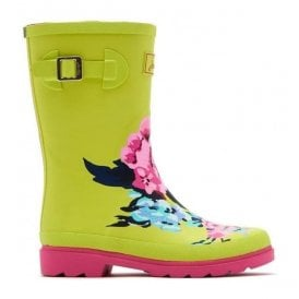 Girls Junior Lime Floral Welly