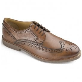 Mens Hazel Tan Leather Lace Up Derby Brogue Shoes