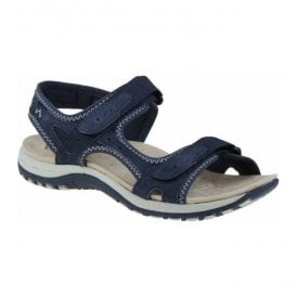 Womens Tyler Navy Double Velcro Strap Sandals 24123