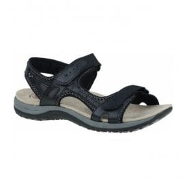 Womens Tyler Black Double Velcro Strap Sandals 24121