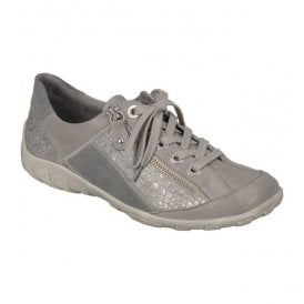 Womens Ravenna Grey Combi Leather Trainers R3419-80