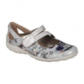 Womens Space White Floral Leather Casual Strap Over Shoes R3427-90