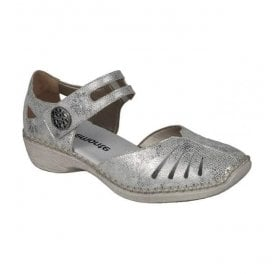 Womens Hawai Metallic White/Silver Leather Casual Mary Jane Bar Shoes D1636-81