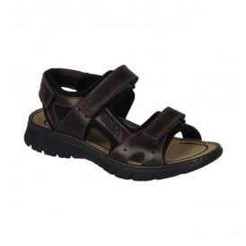 Mens Lava Dark Brown Strap Over Sandals 26757-27