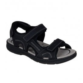Mens Oilybuk Black Strap Over Sandals 26280-00