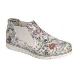 Womens Bouquet White Floral Multi Elasticated Slip On Ankle Boots M1397-90