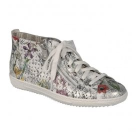 Bouquet White Floral Multi Lace Up Ankle Boots L9426-90