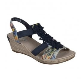 Bosnia Blue-Combi Sandals With Flower Detail 62461-90