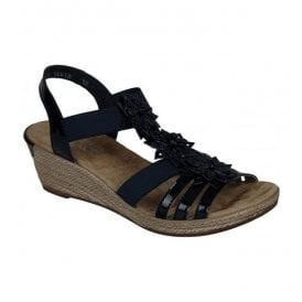 Softlack Navy Sandals With Flower Detail 62461-15