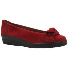 Womens Lesley Slip On Red Suede Pump Shoes 76.403.28