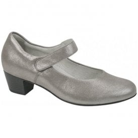 Womens Hilaria Lizz Metallic Grey Leather Mary Jane Shoes 358303 185 088