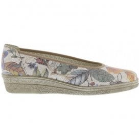 Womens Piquet Floral Print Slip On Wedge Shoes 66.400.28