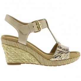 Womens Karen Beige Powder T-Bar Wedge Heel Sandals 62.824.21