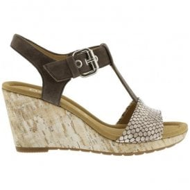 Womens Karen Mud T-Bar Wedge Heel Sandals 62.824.83