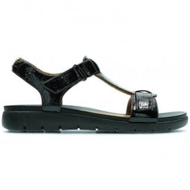 Womens Un Haywood Black Patent Leather T-Bar Sandals