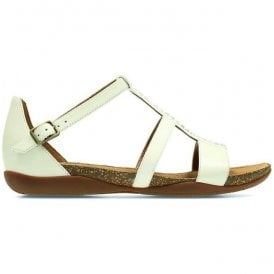 Womens Autumn Fresh White Leather Closed Heel Sandals
