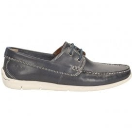 Mens Karlock Step Navy Leather Boat Shoes