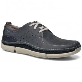 Mens Trikeyon Fly Navy Leather Casual Lace Shoes