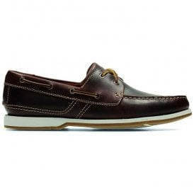 Mens Fulmen Row Dark Tan Leather Boat Shoes