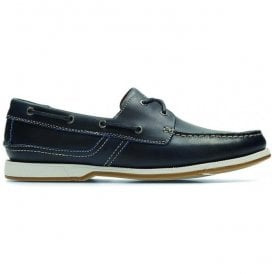 Mens Fulmen Row Navy Leather Boat Shoes