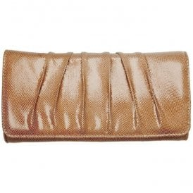 Womens Aloe Powder Lizard Patent Clutch Bag 2091890