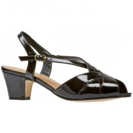 Womens Libby II Black Patent Sling Back Sandals 0293110