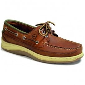 Mens Squamish Sand/Olive Leather Sports Deck Shoes