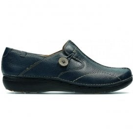 Womens Un Loop Navy Leather Casual Shoes