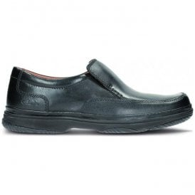 Mens Swift Step Black Slip On Shoes Wide Fitting