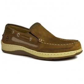 Mens Largs Sand Suede Leather Slip-On Sports Deck Shoes