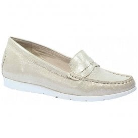 Womens Ettiene Beige Glitter Leather Slip On Moccasins 9-9-24251-28 409